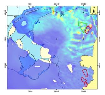Figuur 9. Kaart van de dikte van de Zechstein zoutlaag in Noord Nederland (paars- dun of afwezig; wit- sterke plooiing)
