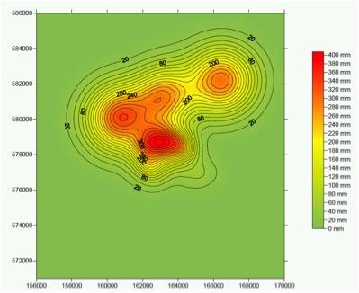 Figuur 7. Voorspelde bodemdaling in 2050 door zout en gaswinning (zonder de autonome daling van 6 cm